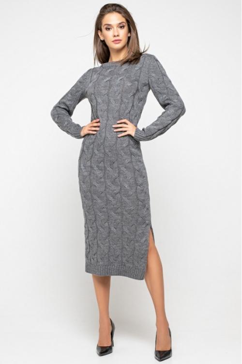 Женское Вязаное Платье Эвелина Темно-серый