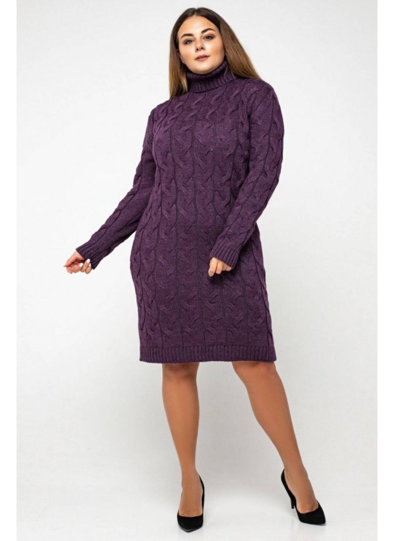 Женское Вязаное платье Сабрина Баклажан - Size+ купить в Украине: фото, цена, характеристики, отзывы - фото 2