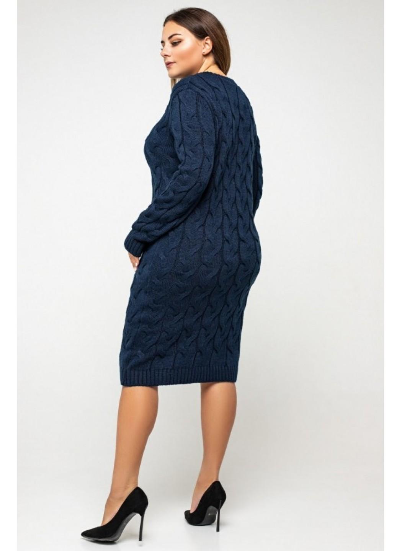 Женское Вязаное платье Каролина Темно-синий Size+ купить в Украине: фото, цена, характеристики, отзывы - фото 3