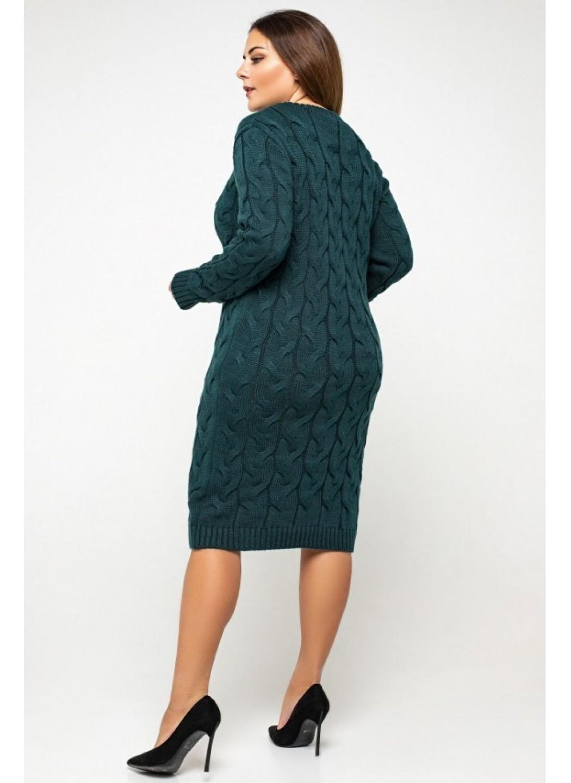 Женское Вязаное Платье Каролина Зеленый Size+ купить в Украине: фото, цена, характеристики, отзывы - фото 1