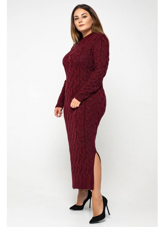 Женское Вязаное Платье Эвелина Бордо Size+ купить в Украине: фото, цена, характеристики, отзывы - фото 1