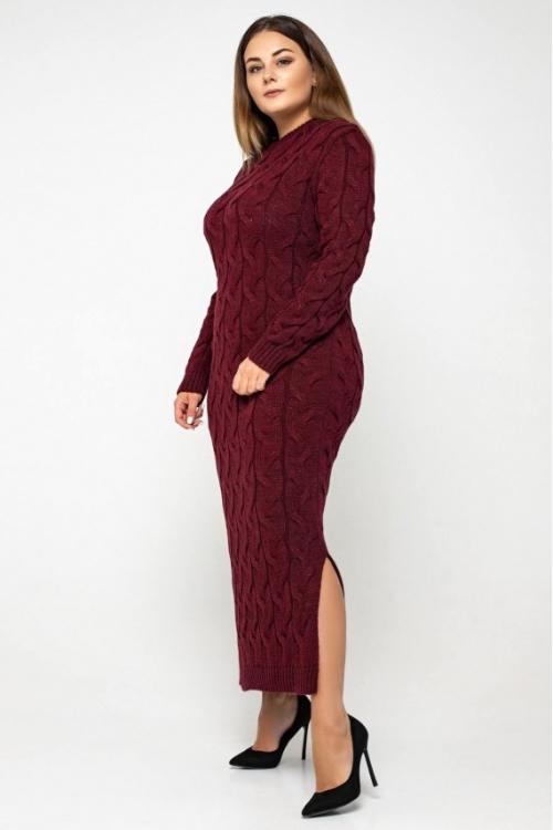 Женское Вязаное Платье Эвелина Бордо Size+