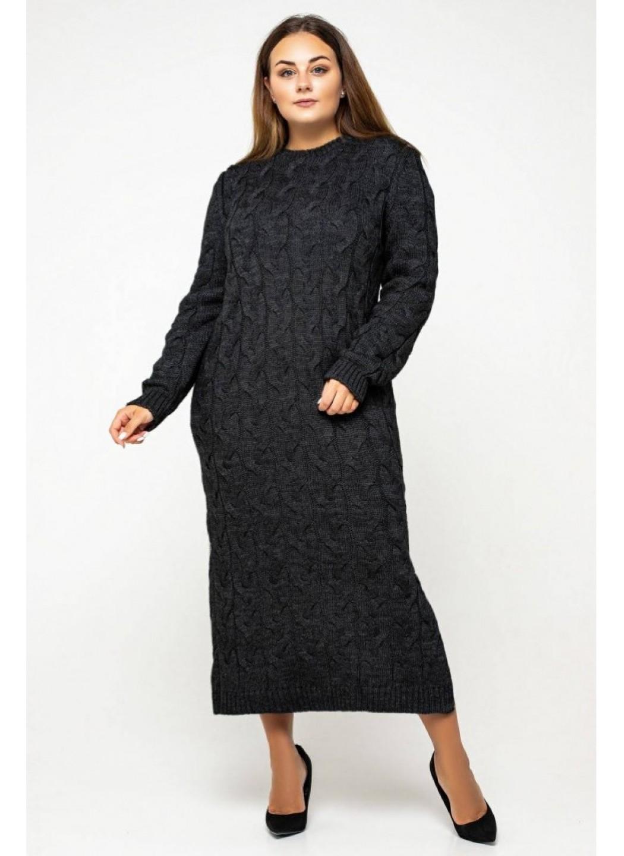 Женское Вязаное Платье Эвелина Черный Size+ купить в Украине: фото, цена, характеристики, отзывы - фото 1