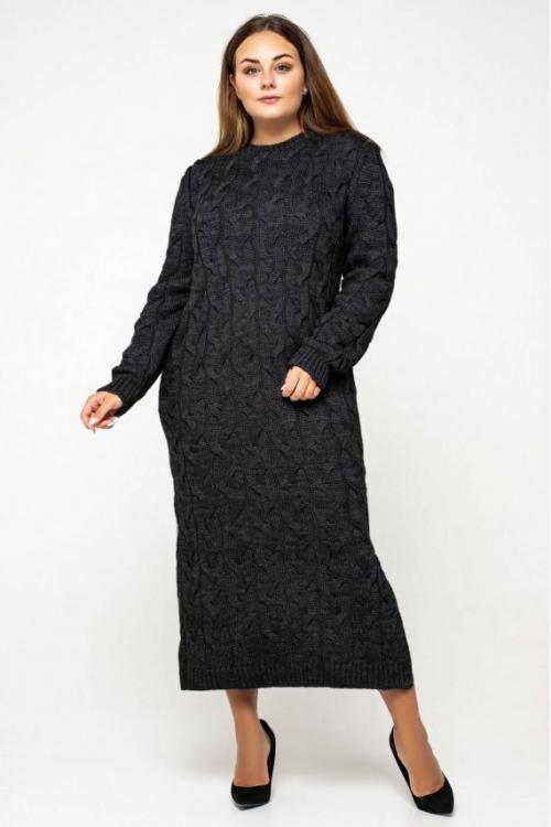 Женское Вязаное Платье Эвелина Черный Size+