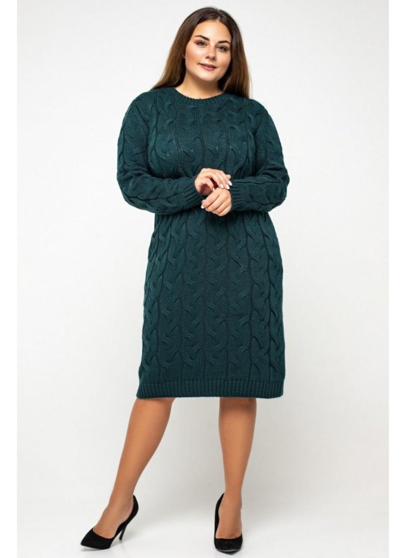 Женское Вязаное Платье Каролина Зеленый Size+ купить в Украине: фото, цена, характеристики, отзывы - фото 2