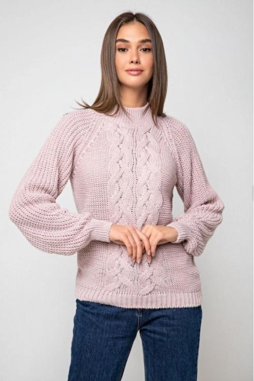 Женский Вязаный свитер Ника с люрексом Пудра