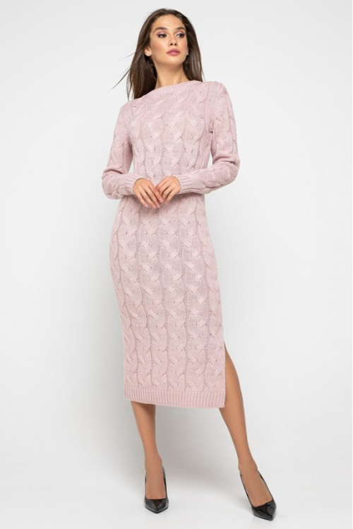 Женское Вязаное Платье Эвелина Пудра