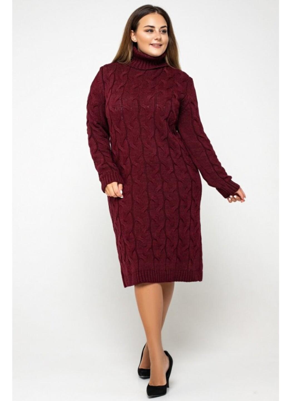 Женское Вязаное платье Сабрина Бордо Size+ купить в Украине: фото, цена, характеристики, отзывы - фото 2