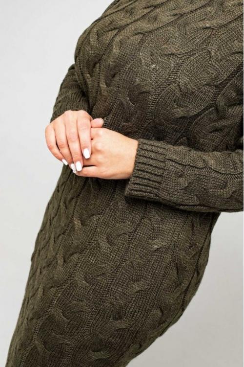 Женское Вязаное Платье Эвелина Табак Size+