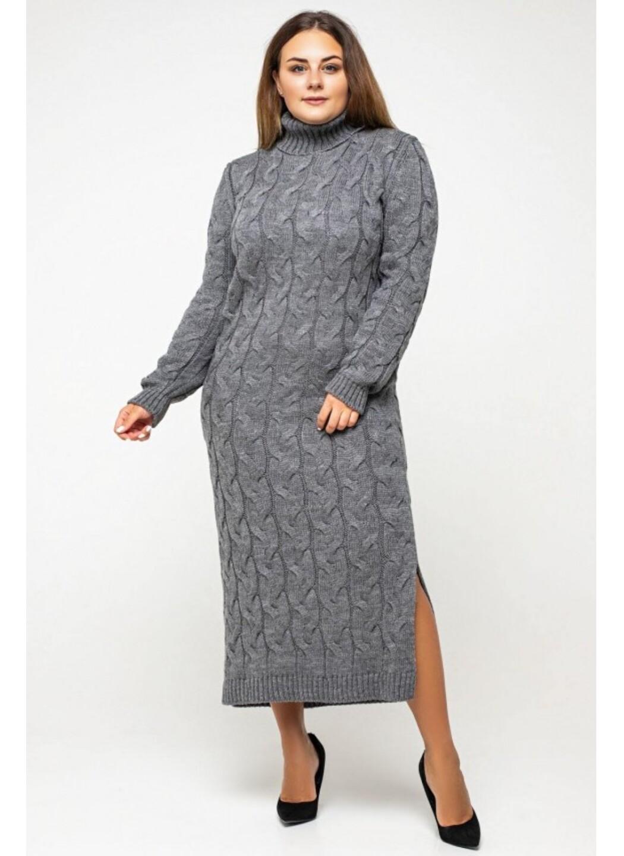 Женское Вязаное Платье Ангелина Темно-серый Size+ купить в Украине: фото, цена, характеристики, отзывы - фото 3