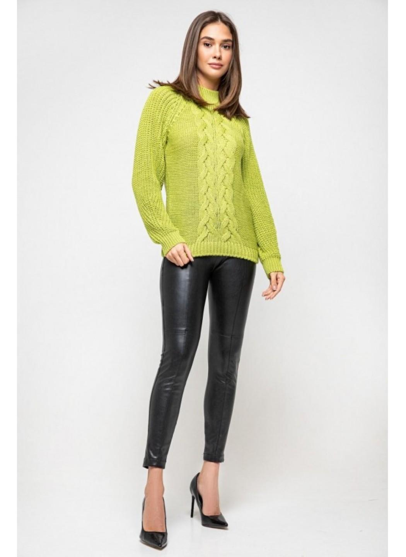 Вязаный свитер «Ника» с люрексом - фисташковый