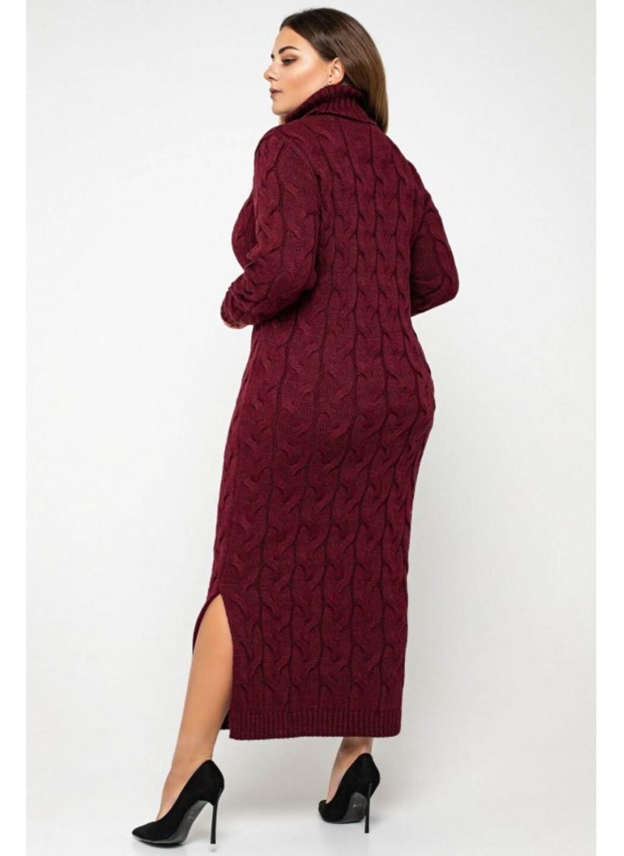 Женское Вязаное платье Ангелина Бордо Size+ купить в Украине: фото, цена, характеристики, отзывы - фото 2