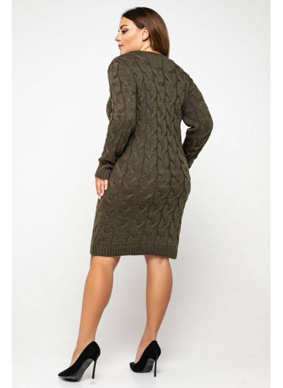 Женское Вязаное Платье Каролина Табак Size+ купить в Украине: фото, цена, характеристики, отзывы - фото 2