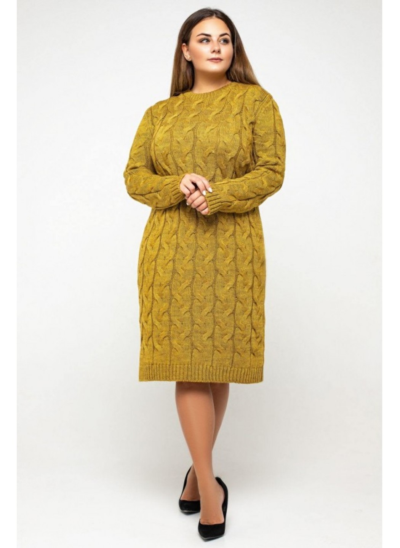 Женское Вязаное Платье Каролина Горчица Size+ купить в Украине: фото, цена, характеристики, отзывы - фото 2