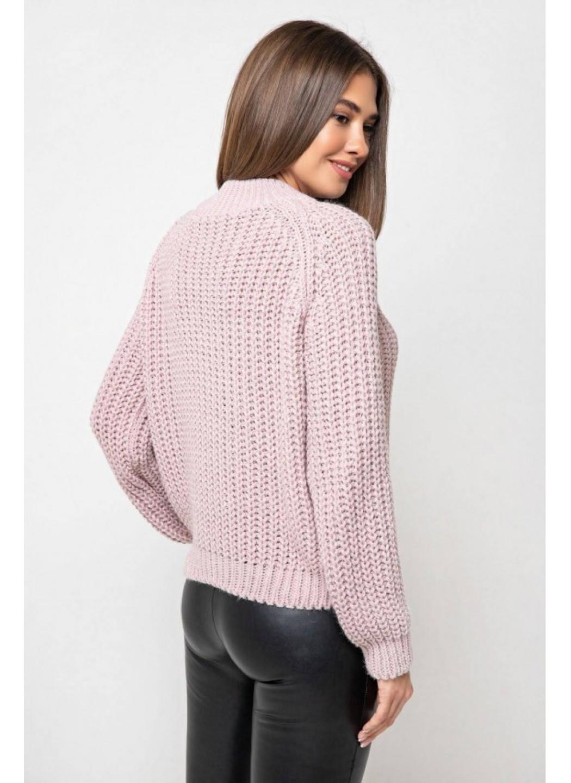 Вязаный свитер «Злата» с люрексом - пудра