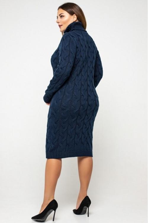 Женское Вязаное платье Сабрина Темно-синий Size+