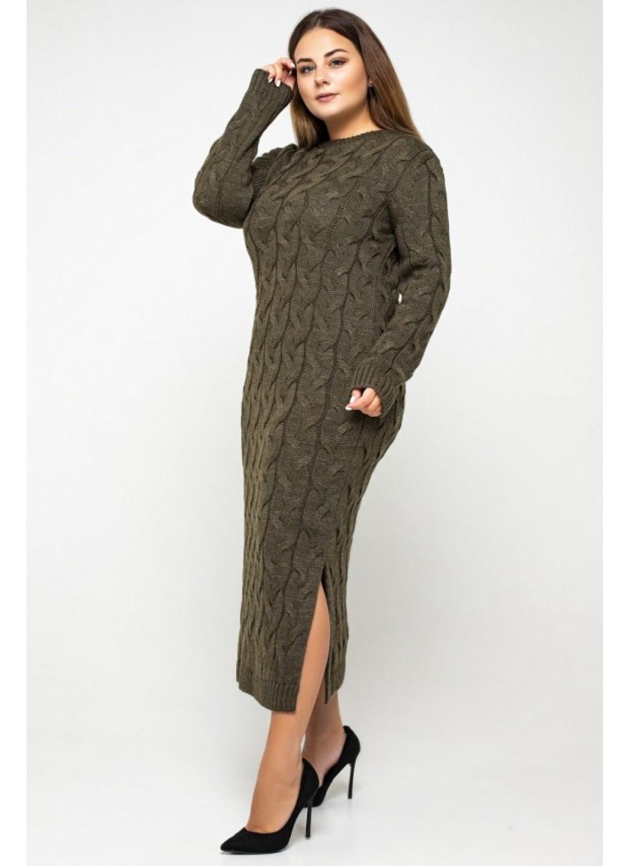 Женское Вязаное Платье Эвелина Табак Size+ купить в Украине: фото, цена, характеристики, отзывы - фото 2