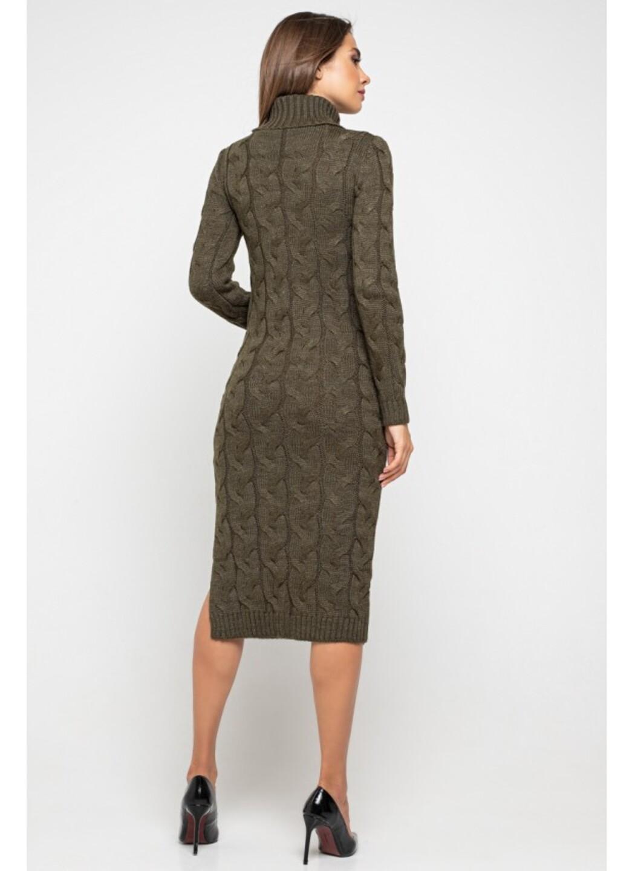 Женское Вязаное платье Ангелина Табак купить в Украине: фото, цена, характеристики, отзывы - фото 3