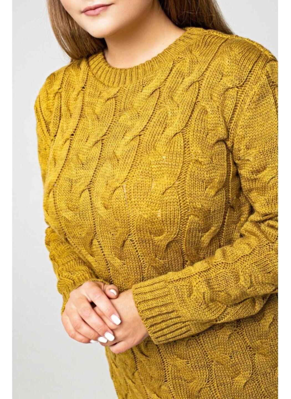 Женское Вязаное Платье Эвелина Горчица Size+ купить в Украине: фото, цена, характеристики, отзывы - фото 4