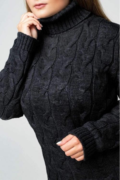 Женское Вязаное платье Сабрина Черный Size+