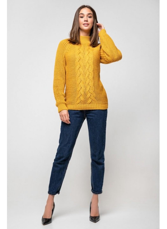 Вязаный свитер «Ника» с люрексом - горчица