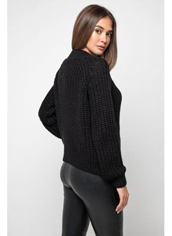 Вязаный свитер «Злата» с люрексом - черный