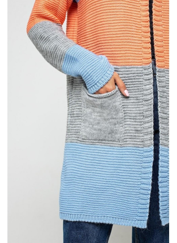 Женский Вязаный кардиган Меги Голубой, серый, оранжевый купить в Украине: фото, цена, характеристики, отзывы - фото 2