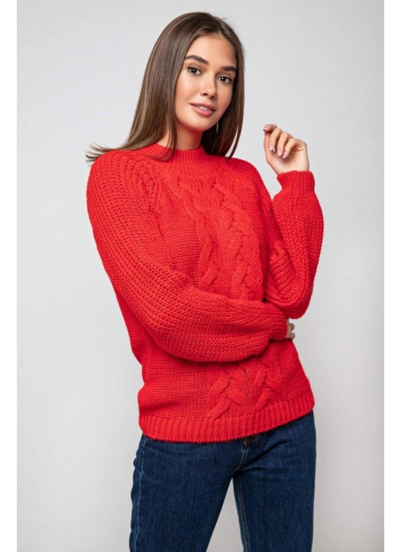 Женский Вязаный свитер Ника с люрексом Красный купить в Украине: фото, цена, характеристики, отзывы - фото 2
