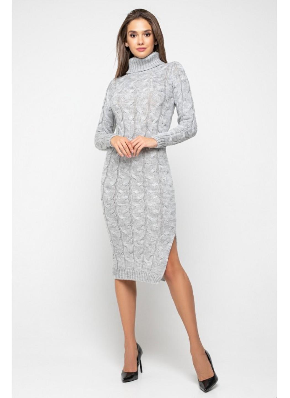 Женское Вязаное платье Ангелина Светло-серый купить в Украине: фото, цена, характеристики, отзывы - фото 1