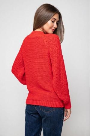 Вязаный свитер «Ника» с люрексом - красный