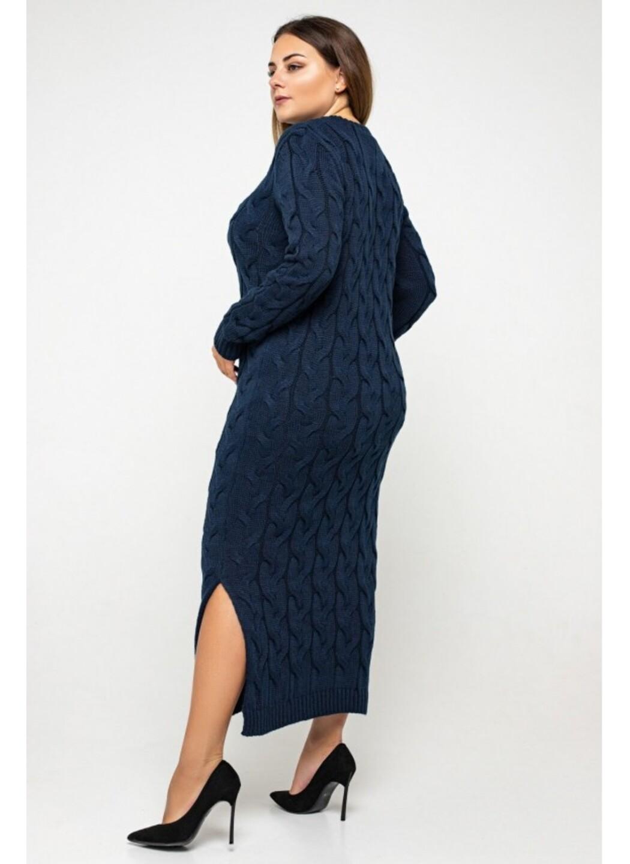 Женское Вязаное Платье Эвелина Темно-синий Size+ купить в Украине: фото, цена, характеристики, отзывы - фото 3