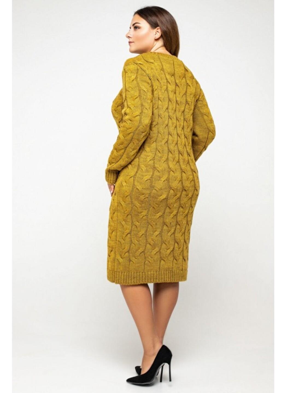 Женское Вязаное Платье Каролина Горчица Size+ купить в Украине: фото, цена, характеристики, отзывы - фото 1