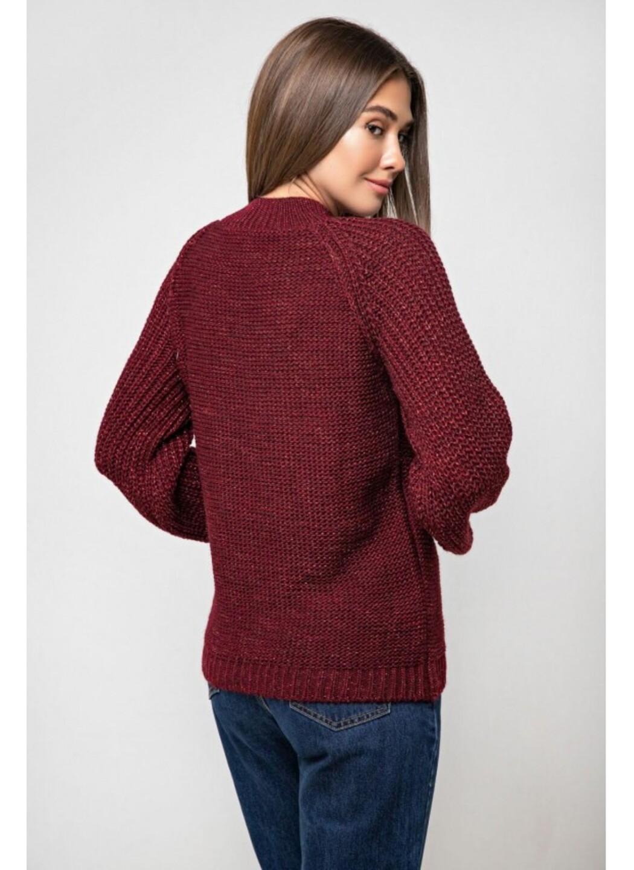 Вязаный свитер «Ника» с люрексом - бордо
