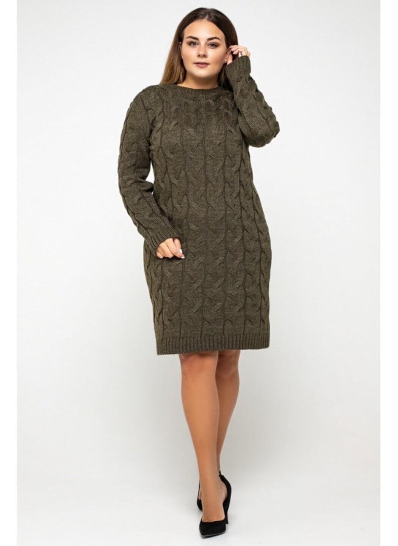 Женское Вязаное Платье Каролина Табак Size+ купить в Украине: фото, цена, характеристики, отзывы - фото 1