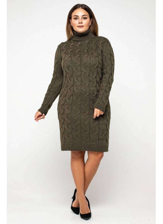 Женское Вязаное платье Сабрина Табак Size+ купить в Украине: фото, цена, характеристики, отзывы - фото 2