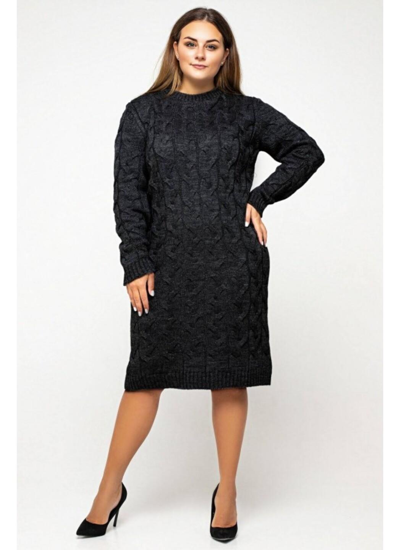 Женское Вязаное Платье Каролина Черный Size+ купить в Украине: фото, цена, характеристики, отзывы - фото 2