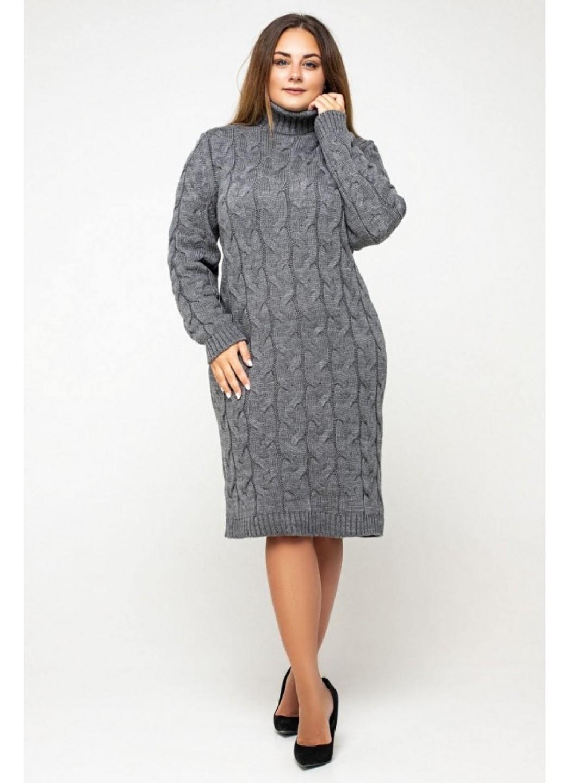 Женское Вязаное платье Сабрина Темно-серый Size+ купить в Украине: фото, цена, характеристики, отзывы - фото 1