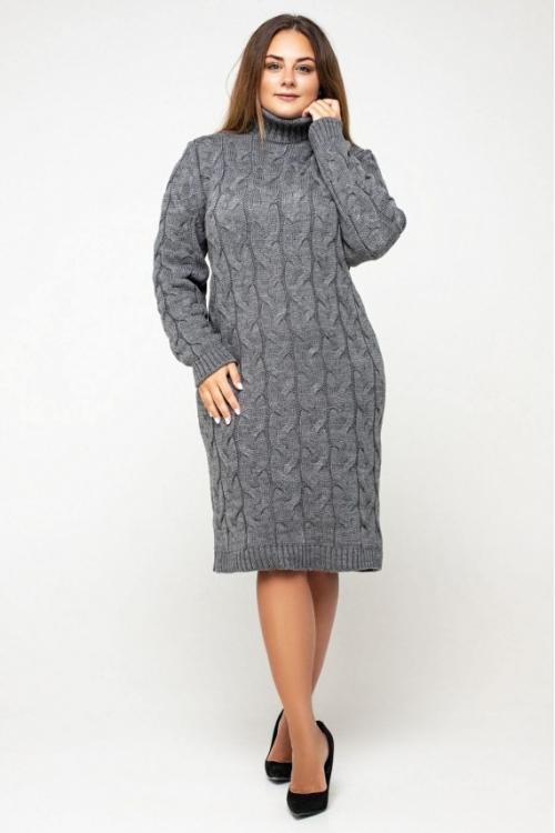 Женское Вязаное платье Сабрина Темно-серый Size+