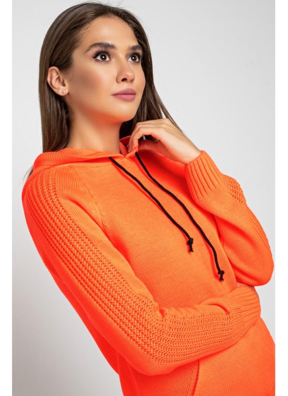 Женский Вязаный костюм Карина с капюшоном Оранжевый купить в Украине: фото, цена, характеристики, отзывы - фото 2