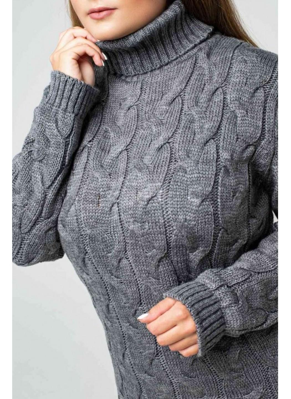 Женское Вязаное Платье Ангелина Темно-серый Size+ купить в Украине: фото, цена, характеристики, отзывы - фото 1