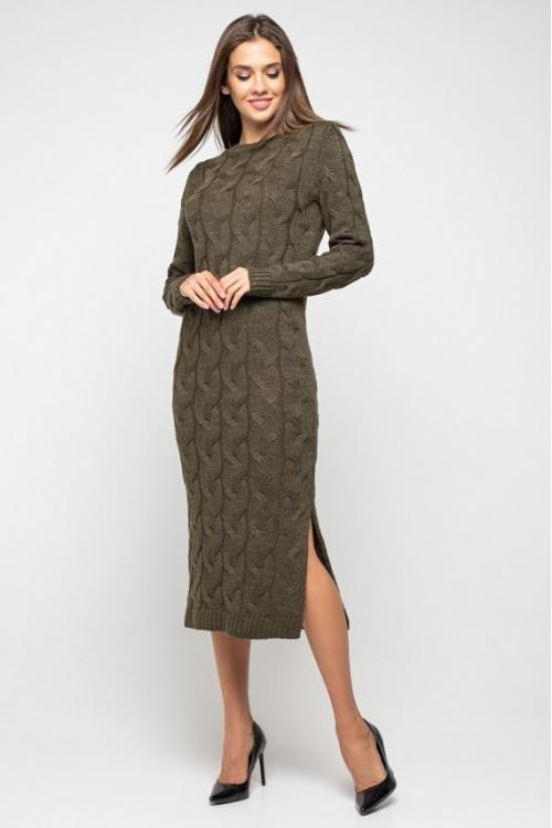 Женское Вязаное Платье Эвелина Табак