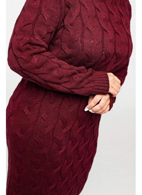 Женское Вязаное Платье Эвелина Бордо Size+ купить в Украине: фото, цена, характеристики, отзывы - фото 3