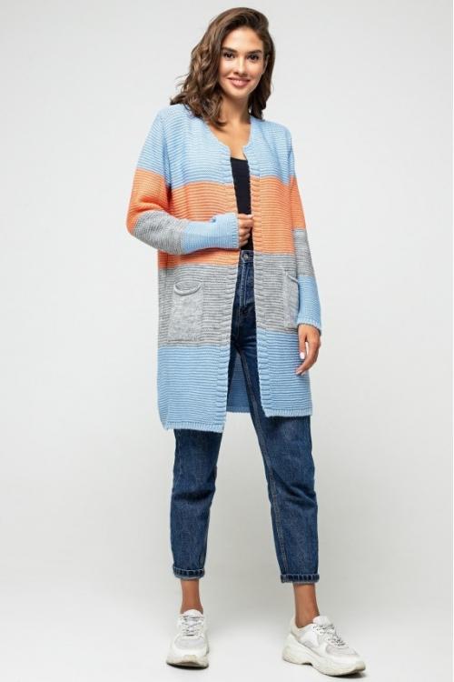 Женский Вязаный кардиган Меги Голубой, серый, оранжевый