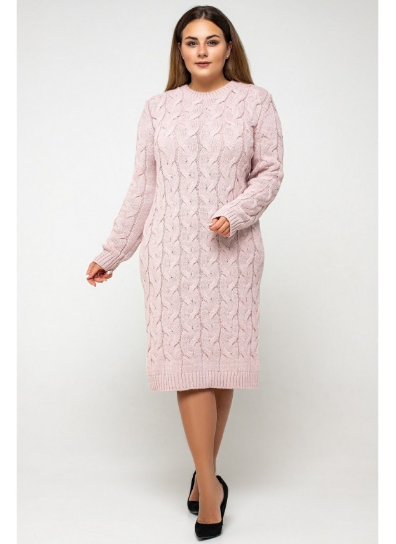 Женское Вязаное Платье Каролина Пудра Size+ купить в Украине: фото, цена, характеристики, отзывы