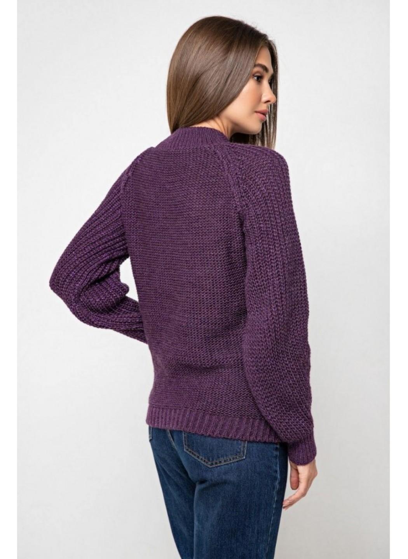 Вязаный свитер «Ника» с люрексом - баклажан
