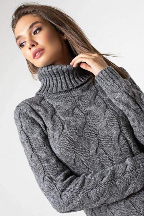 Женское Вязаное платье Сабрина Темно-серый