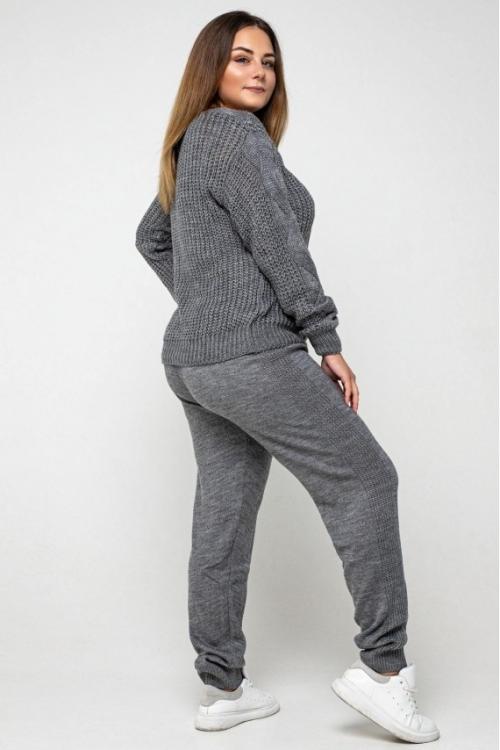 Женский Вязаный костюм Николь Темно-серый Size+