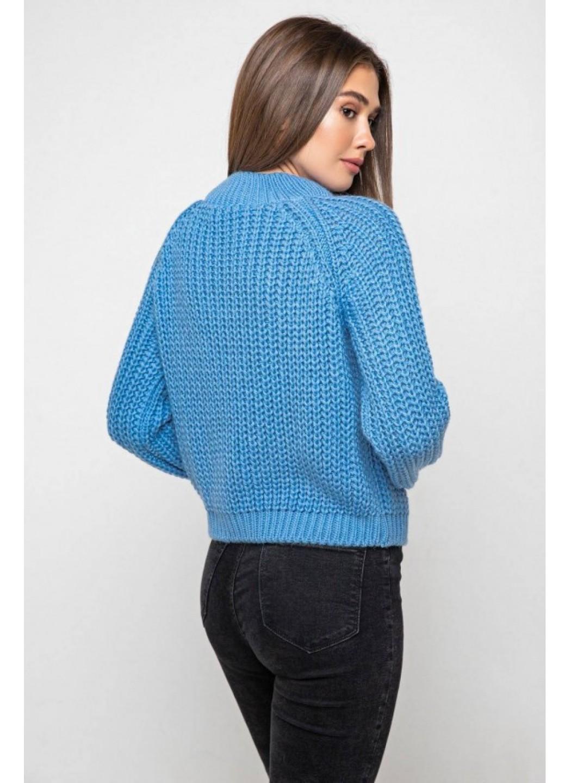 Вязаный свитер «Злата» с люрексом - голубой