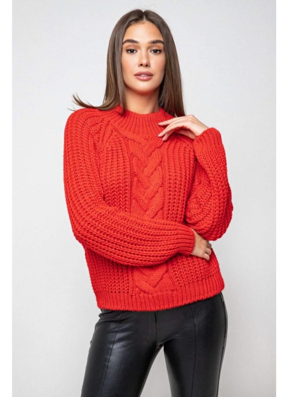 Вязаный свитер «Злата» с люрексом - красный