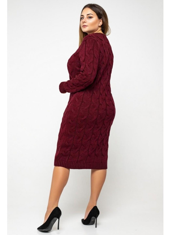 Женское Вязаное Платье Каролина Бордо Size+ купить в Украине: фото, цена, характеристики, отзывы - фото 1